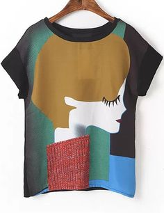 Shop Black Short Sleeve Girl Print T-Shirt online. Sheinside offers Black Short Sleeve Girl Print T-Shirt & more to fit your fashionable needs. Free Shipping Worldwide!