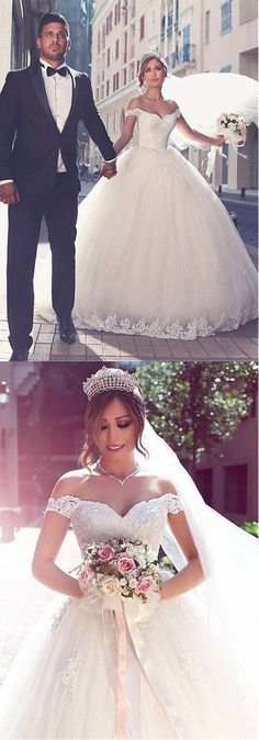 Off the Shoulder Tulle Wedding Dress Bridal Dresses Ball Gown Wedding Dress with Applique BDS0448 #weddingdress