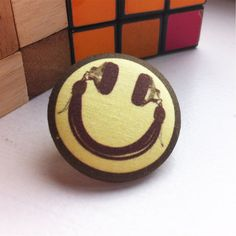 CLEARANCE SALE, Smiley Face Pin, 90's rave tie pin, DJ headphone tie tack, acid house music lover gift, 1.5 inch cover button