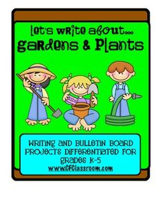 PLANTS / GARDENS: A differentiated writing resource for graes K-5. This resource contains 13 printable pages of thematic materials to use in your K-5 classrooms.     There are 2 full color printables to be used as class book covers or as titles on your bulletin boards when displaying the student writing.