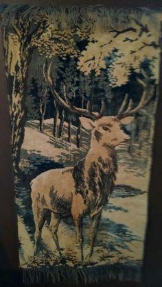 "Vintage tapestry wall hanging/ Belgium. Depicting Stag deer 39""x20""  $16 free s/h"