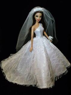 Barbie Wedding Dress Bridal Gown One Shoulder by Fashion dolls boutique Barbie Bridal, Barbie Wedding Dress, Barbie Dress, Bridal Dresses, Wedding Gowns, Barbie Doll, Bride Dolls, White Fashion, Bridal Style