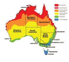 Australia has several regions with varying weather condition. Seeing the map of Australia would show Darwin Australia, Fly To Australia, Australia Travel Guide, Western Australia, Melbourne, Brisbane, Australia Occidental, Australia Weather, Tasmania Hobart