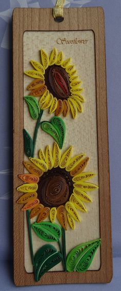 Bespoke Sunflower quilling bookmark. Handmade item by Hiquilling