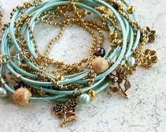 Oasis Turquoise Leather and Chain Garden Wrap by SunnyBeachJewelry, $34.99