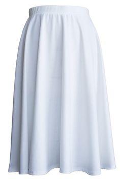 Jubilee Couture Womens' Elastic Waist Below Knee Midi Flare Pleated Skirt - Made in USA (3XL,White)