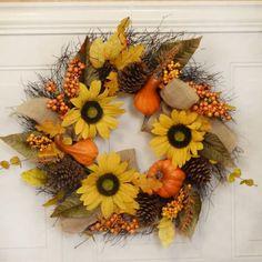 "Sunflower Pumpkin Fall Wreath with Burlap WR4853 - Sunflowers, berries pine cones, pumpkins, gourd, burlap accents on a wispy vine base 22"" #FallDoorWreaths"