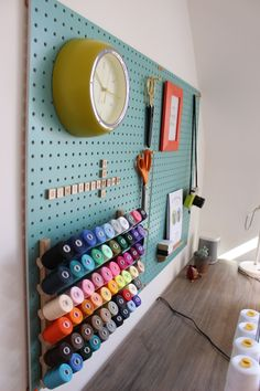 My Sewing Room Pegboard from Block Designs; Clock and frame from Habitat; Sewing Nook, Sewing Room Design, Sewing Spaces, My Sewing Room, Sewing Studio, Sewing Room Decor, Craft Room Storage, Sewing Room Storage, Sewing Room Organization