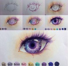 Process of an anime eye art in 2019 desenhos, olhos desenho, Drawing Techniques, Drawing Tips, Drawing Sketches, Drawing Ideas, Sketching, Beginner Drawing, Cartoon Drawings, Cool Drawings, Pencil Drawings