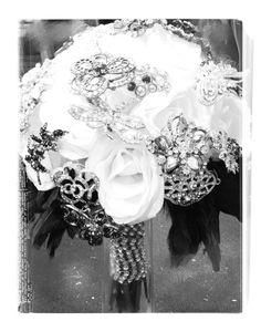 Bejeweled bridal bouquet