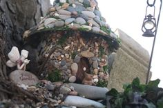 "Make a stone fairy house, stone fence, stone wall, etc.  Great instructions for easy stone ""tiles"" using wood glue."