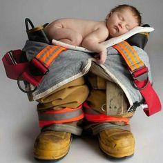 Vol. Fireman - Great newborn picture ideas in the future.