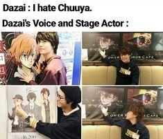 The voice actor has some different opinions. Dazai Bungou Stray Dogs, Stray Dogs Anime, Haikyuu, Funny Dogs, Funny Memes, Tsurezure Children, Image Manga, Dazai Osamu, Humor Grafico