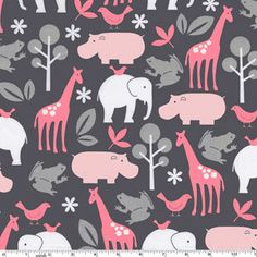 Bloom Zoology by Michael Miller Pink/Grey Gray Tissu Michael Miller, Michael Miller Fabric, Elephas Maximus, For Elise, Nursery Fabric, Jungle Animals, Pink Fabric, Flamingo Fabric, Cotton Fabric