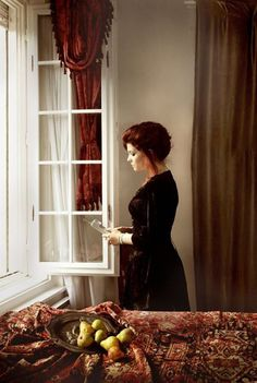 """Girl reading a letter by an open window"" remake by Wanda Martin"