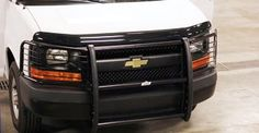 Find 2003-14 Chevy Express Van Grille Guard with Brush Guards and Headlight Protectors (Black) at majorpolicesupply.com