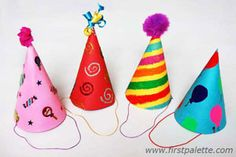 As the perfect activity during your party, have a Birthday Hat Bonanza where each guest can decorate his own hat. Your party will be festive and fun with these do it yourself birthday decorations. These crafts for kids are completely budget-friendly. Diy Party Hats, Birthday Party Hats, Birthday Crafts, Birthday Decorations, Clown Crafts, Circus Crafts, Hat Crafts, Classroom Birthday, Happy Birthday Mom