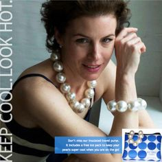 Hot Girl Pearls body cooling jewelry - the first and only fashion accessory that provide natural relief from heat intolerance.  With oversized pearls filled with nontoxic cooling gel, these elegant necklaces get arctic cold in the freezer. Then, they stay nice and icy cool on you! - Available as necklaces and bracelets, in natural pearl, blush pearl or gunmetal.