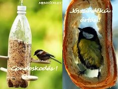 MENTŐÖTLET - kreáció, újrahasznosítás: PET-palackból és narancshéjból madáretető Petra, Bird Feeders, Diy And Crafts, Burlap, Recycling, Outdoor Decor, School, Home Decor, Decoration Home