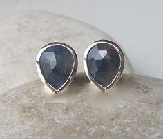 Blue Sapphire Stud- Pear Shaped Sapphire Earring- Sapphire Earring- Stud Earring- September Birthstone Earring- Gemstone Earring on Etsy, $98.99