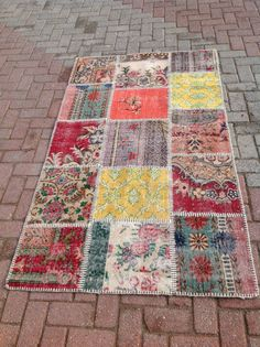 Multicolor Pattern Mix Turkish Patchwork Carpet by PergamonArt