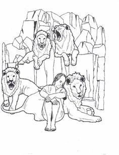 daniel and the lions' den coloring page | primary | pinterest ... - Bible Story Coloring Pages Daniel