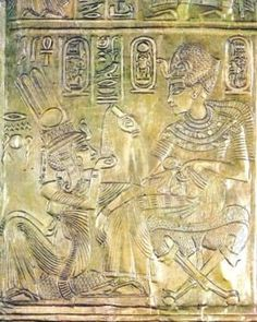 Tutankhamun and Ankhesenamun  The king seated on a folding chair, covered with a leopard skin and cushions and pouring water or anointing oil in the bowl shaped into a hand of Ankhesenamun which has lain down on a pillow. In both figures, the left hand is a right hand as shown, so that the thumb is visible.