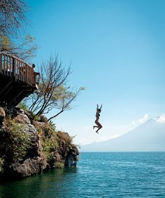 Beyond ancient Mayan ruins, Guatemala's Lake Atitlán has long been a muse to artists and writers. A local jump site built into the cliffs of San Marcos.