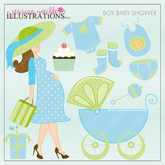Boy Baby Shower Cute Digital Clipart for Card by JWIllustrations