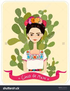 Cute Mexican Girl In An Ancient Dress. Cactus In The Background. Text Fifth Of May. Vector Illustration. - 370869692 : Shutterstock