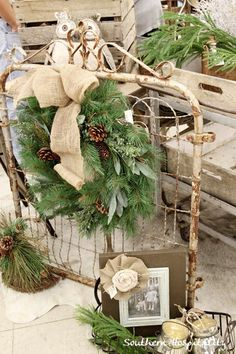 Old Chippy Metal Gate...with pine wreath & burlap bow.