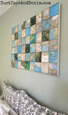 How to Make a World Map Art Collage on Canvas DIY Weltkarte Kunst Collage Leinwand Diy Wand, Cool Wall Decor, Diy Wall Art, Mur Diy, Art Du Collage, Canvas Collage, Canvas Art, Canvas Display, Map Projects