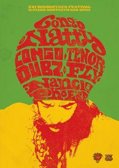 Plakat promujący koncert CONGO NATTY na Przystanku Woodstock 2015 Reggae Artists, Woodstock, Congo, Lineup, Drum, Poland, Philosophy, Bass, Portraits