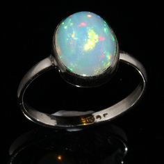 925 Sterling Silver Natural Ethiopian Welo Fire Opal Ring Jewelry ##26