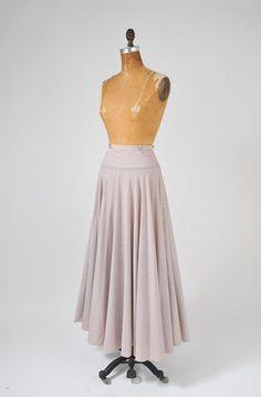 Vintage Pinstripe Cotton Maxi Circle Skirt Beige by missfarfalla