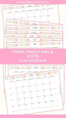 FREE printable 2016 planner calendar