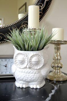 Vintage Ceramic White Owl Planter,
