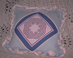 Handmade Reverse Applique Square Decorative Pillow - In Colors of Blue, White and Pink by BodaciousTreasures on Etsy