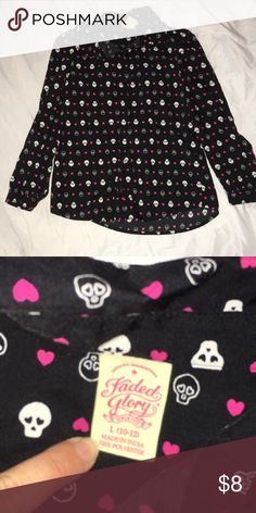 Skull and hearts button down Girls skull and hearts button down shirt, excellent condition, silky material Faded Glory Shirts & Tops Button Down Shirts