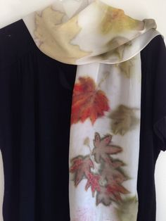 Multi-color Eco Print Silk Scarf / Maple Leaves Botanical Print / Natural Dyes W9 by DianeGamm on Etsy