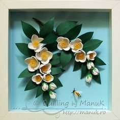 Quilled Jasmine Flowers Branches and a Bee in a Shadowbox Frame - Framed Quilling Artwork - Quilling by ManuK (Manuela Koosch). Paper Quilling Flowers, Paper Quilling Designs, 3d Quilling, Quilling Paper Craft, Quilling Patterns, Quilling Cards, Paper Crafts, Apple Flowers, Quilled Creations