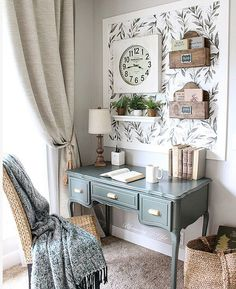 31 Stunning Home Office Decor Ideas You Definitely Like - These days, its not unusual for most houses to have a home office. Your home office is just as much in need of nice decor as any other area in your h. Home Office Space, Home Office Design, Home Office Decor, Office Furniture, Office Designs, Office Nook, Office Style, Shabby Chic Office Decor, Small Office Decor