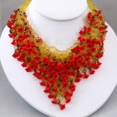 Gorgeous Vintage Celluloid Necklace with Bright Red Tiny Flowers from Fragrant Glass on Ruby Lane