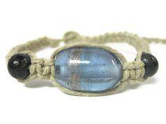 Ocean Blue and Bone Hemp Macrame Bracelet by Abundantearthworks, $6.50