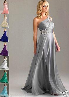 New One Shoulder Bridesmaid Evening Dress Formal Bridal Gown Sz 6 8 10 12 14 16