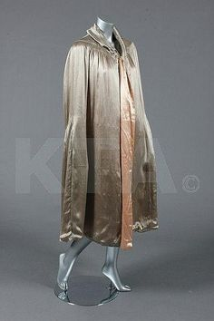A silver-grey satin cape with early Chanel label, late 1920s early 1930s