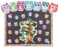 Welcome back board - and lots of other owl themed ideas
