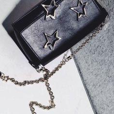Trestelle Vitello Black, / bag stars chain /