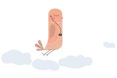 Bird Sticker  Pájaro sobre las nubes