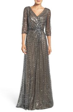 La Femme Sequin Mesh Gown available at Mob Dresses, Formal Dresses For Women, Modest Dresses, Fashion Dresses, Plus Size Gowns, Mother Of Groom Dresses, Elegant Outfit, Nordstrom Dresses, Ball Gowns